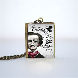 12pcs The Collected Tales Of Edgar Allan Poe Book Locket Necklace, Bronze tone