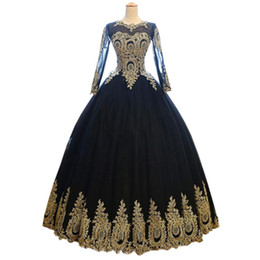 Sexy Black With Gold Applique Wedding Dress Ball Gowns Cheap With Illusion Long Sleeves Corset Back Sweep Train Tulle Wedding Bridal Gowns