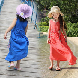 2017 Summer Girls Solid Color Sleeveless Vest Long Holiday Beach Dress Children Casual Dress with Bow Belt
