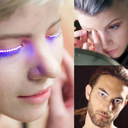 New Releases Halloween Button LED Strips False Eyelash Sticker 3d Led Lashes Eye Makeup Waterproof Light Fake Eyelashes Extension