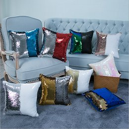 Double color paillette mermaid hold pillow case sell like hot cakes Cotton and linen car sofa cushion for leaning on