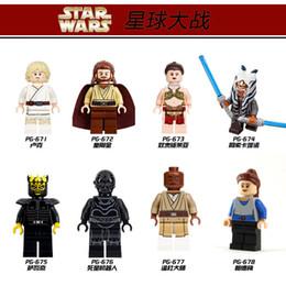 Wholesale POGO STAR WARS set Minifigures Ahsoka Tano Luke Qui Gon Jinn Mace Windu Leia Starwars Building Blocks Models Figures Toys