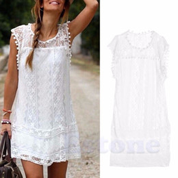 Femme sexy en Ligne-Vente en gros - Femmes Sexy Lace Robe manches courtes Casual Femmes Crochet Floral Lace Broderie Robes Sheer Boho People Style Femmes Magenta
