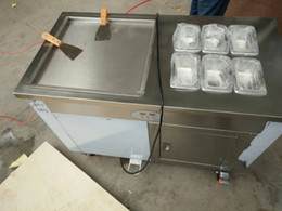 Wholesale High quality v v stainless steel fried ice cream machine with topping box cabinet r410a good compressor cm round and square pan