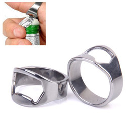 Portable Silver color Stainless Steel Beer Bar Tool Finger Ring Bottle Opener bottel favors (24mm-22mm) Bar Tool Kitchen Cooking