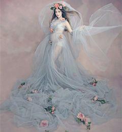 Wholesale Free Size Pregnant Maternity Dress Flower Underwear Women Photography Props Romantic Elegant Long Fairy Trailing Dress Photo Shoot Shower