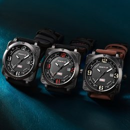 Men's sports quartz watch 3 ATM waterproof leather watch fashion calendar military racing watch for free delivery