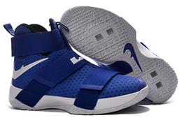 10 Couleur (Avec boîte à chaussures) James LeBron Zoom Soldier 10 X Jeu Royal White Black Limited Hommes chaussures taille 7-12 à partir de soldats lebron noir fabricateur