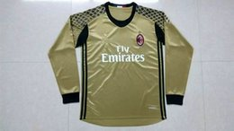 Wholesale New Product Top thailand quality AC Milan gold Soccer Jersey Long Sleeve Goalkeeper Jerseys