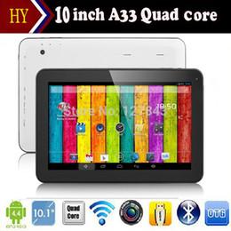 Promotion pouces 1gb Vente en gros - 2014 nouvelle vente chaude 10 pouces Tablet PC Allwinner A33 Quad Core Android 4.4 double caméra 1GB / 8GB 16GB WiFi Bluetooth + cadeau