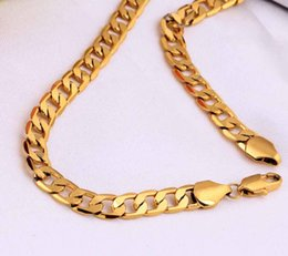 Wholesale FedEx Express New Yellow Solid Gold Filled Cuban Chain Necklace Thick Mens Jewelry Womens Cool for dad boyfriend birthday gift