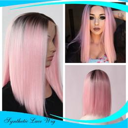 18 pouces perruque synthétique droite en Ligne-Cheveux résistant à la chaleur Cheveux synthétiques perruque avant en dentelle Bob Straight Ombre 1B / Rose (14 pouces)