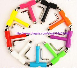 Wholesale 50pcs Skate T TOOL Skateboard Scooter Longboard Tools Kick Scooter Mini T Wrench Spann All in one Skate Tools