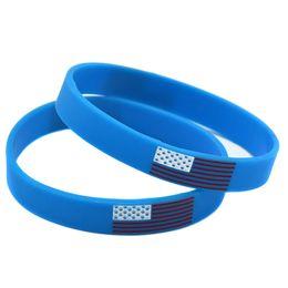 Wholesale 100PCS Lot American flag Silicone Wristband Fashion Bracelet Ink Filled Logo Promotion gift Adult Size Blue