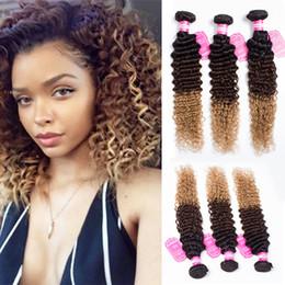 2017 27 bouclés ombre Ombre Extensions de cheveux humains péruviennes Deep Wave Cheveux bouclés Tisser trois couleurs 1b 4 27 Nouvelle arrivée abordable 27 bouclés ombre