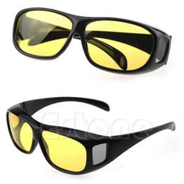 Grossiste-HD Vision nocturne Unisex Driving Lunettes de soleil jaune lentille sur envelopper autour de lunettes hd sunglasses wrap on sale à partir de lunettes de soleil hd wrap fournisseurs