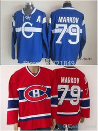 Wholesale 2016 Good Customer reviews Jersey Cheap Montreal Canadiens jersey Andrei Markov red blue ice hockey jerseys wholesaler in chinafre