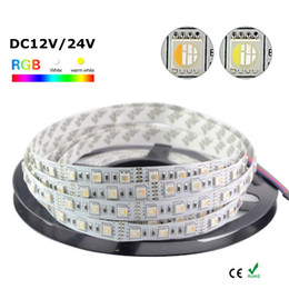 Edison2011 New 16.4FT 5M 5050 RGBW 4 Colors in 1 LED RGB + White Flexible LED Strip Light Non-Waterproof DC12V DC24V 60leds 300LEDs