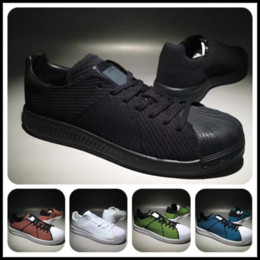 Wholesale New Superstar Shell Toe Primeknit Skate Shoes Men Women Black White Elasticity Knit Casual Shoes Best Quality Weave Breathable Leisure Shoes