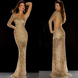 2017 New Sparkle Mermaid Style Prom Dresses Major Beaded Colorful Crystal Evening Dresses One Shoulder Sheer Back Custom Made Party Gowns
