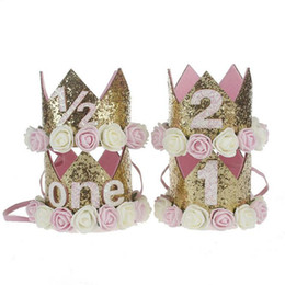 Accessoires pour cheveux pour bébés en Ligne-1er Baby Girls Birthday Hat Newborn Flower Girls Headband Crown Girls Accessoires pour cheveux Glitter Baby Newborn Headwrap