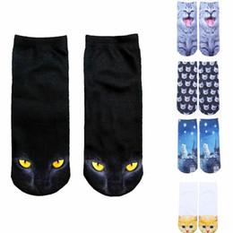 Vintage 3D Imprimé Low Cut Chaussettes Fille Cute Kawaii Cartoon Cat Animal Funny Chaussettes Coton Femme Xmas Automne Chaussettes Chaussures D'hiver à partir de fille chat cru fabricateur