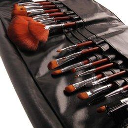 Wholesale handle bike Natural Animal Hair makeup brush set sleek Luxury Rosewood Handle With pockets Paintbrushes pincel maquiagem Make Up Bag