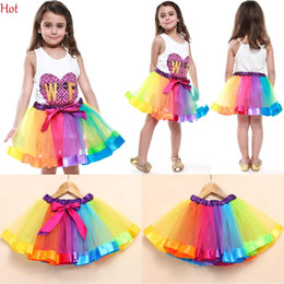 Acheter en ligne Vêtements de ballet pour bébé-Mode Vêtements pour enfants Bébé fille Tutu Dance Wear Jupes Ballet Pettiskirt Colorful Dance Rainbow Jupe Ruffled Birthday Party Jupe