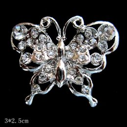 Beautiful Silver Color Rhinestone Crystal Small Bridesmaid Butterfly Brooch