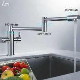 Wholesale hm Kitchen Sink Faucet Stretch Folding Bathroom Kitchen Mixer Taps Deck Mounted Dual Handle Luxury Copper Faucet Kitchen Faucets