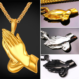 U7 The Praying Hands Jewelry Pendant Necklace Brother Gift 18K Gold Plated Stainless Steel Men Chain Perfect Gift Necklace Accessories