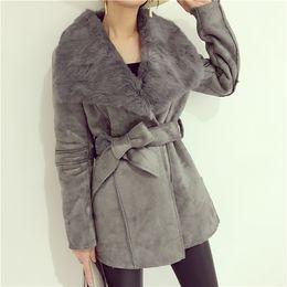 Wholesale 2016 Winter Elegant Rabbit Fur Large Lapel Bandage Suede Leather Medium long Wadded Jacket Outerwear Women Coat