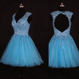 Wholesale Real Photo Prom Dresses Short Light Sky Blue Backless Tulle Appliques Lace A line V neck Online Store Vestidos De Fiesta Baratos