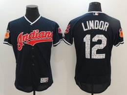 Wholesale Cleveland Indians Jersey Spring Training Francisco Lindor Navy In Stock Embroidery Logos Flex Base On field Baseball Team Jerseys