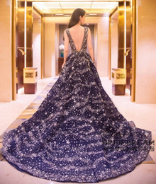 Wholesale Sexy Dark Navy Long Train Backless Evening Dresses New A Line Crew Neck Stars Plus Size Prom Guest Gowns