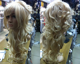 Details about Fashion Charming long Blonde curly hair ladies Synthetic made wigs+free wig cap