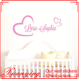 Personalized Your Name In Hearts Vinyl Decor Wall Sticker Kids Bedroom Wall Art Decorative Wall Mural