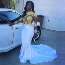 Sexy Sheer African White and Gold Prom Dresses Mermaid Appliques Beaded Lace Satin Black Girl Long Sleeve Prom Party Gowns BA5548