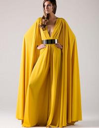 Wholesale 2017 árabe largo formal vestidos de noche con cinturones de oro del cabo Sexy profundo V cuello amarillo gasa musulmanes Dubai Kaftan mujeres vestido de noche