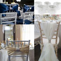 Wholesale Rows Silver Diamond Mesh Closure Bling Napkin Ring Diamond Rhinestone Wedding Chair Sashes Bows