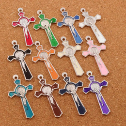 INRI Crucifix Enamel Saint Benedict Medal Cross Charms Pendants 72pcs lot 51x27mm Two-Sided 12Colors Jewelry DIY L423
