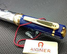 Free shipping ! ! Aigner Pen ballpoint pen Oblique Head Series Resin And Metal Blue Color Golden   Silver Clip