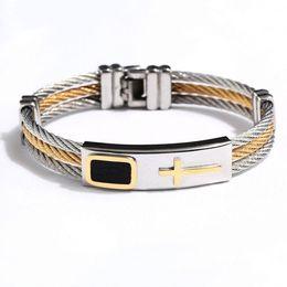 Wholesale Creative Design Men Row Wire Chain Bracelet Casual Simple Style Men Stainless Steel Cross Bracelet Best Gifts Jewelry