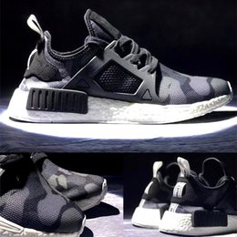 Wholesale More camo printed NMD_XR1 Primeknit R1 Boost Shoes are on the way this fall Camo Pack Olive tones Light Granite Vintage White Double Box