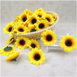 "20pcs 2.8"" Sunflower Buds Artificial Silk Flower Heads For Wedding Home Bridal Bouquet Decoration Wrist flowers"