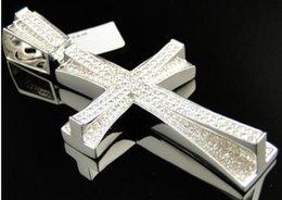 Mens White Gold Hand Set Pave Round Cut Diamond Cross Pendant 3.25 Inch
