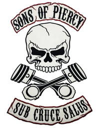 NEW ARRIVAL SONS OF PIERCY Embroideried Iron On Patch For Biker Vest Rock Motorcycle MC Club Leather JACKET Vest Patch Full Back Size