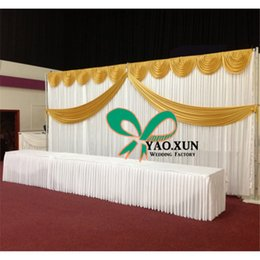 Free Shipping White Wedding Backdrop Curtain With Top And Middle Swag Drape