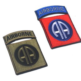 Wholesale US Army st Airborne Division AA Badge Tactical Patch Morale Patches Hook Loop D Embroidery Badge Military Army Badges free ship