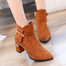 Round Head Retro Women Shoes High 6CM Women Boots 2017 High Heels Fashion Suede Women Boots Normal Size 35-39